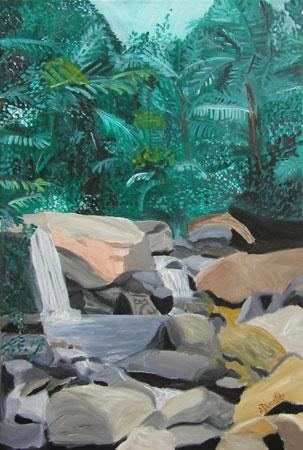 El Yunque Acrylic on Canvas, 24 x 36 in. For Sale