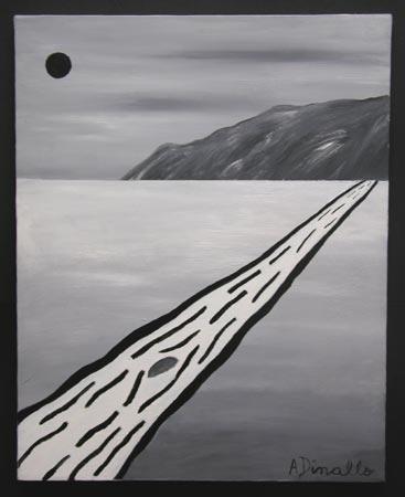 Black Sun Acrylic on Canvas, 12 x 16 in. For Sale