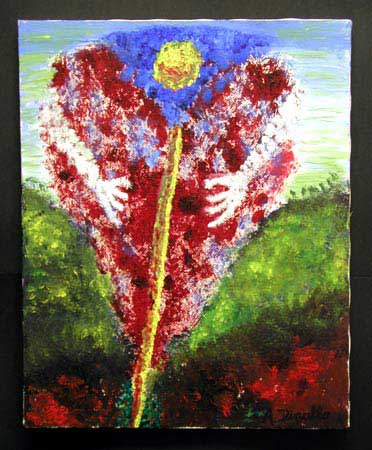 Heartflower Acrylic on Canvas, 16 x 20 in. For Sale