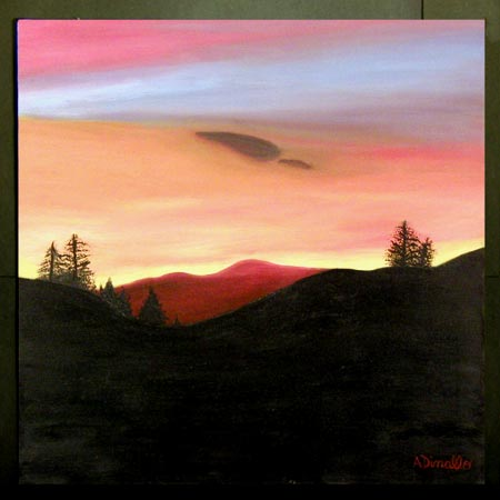 Sierra Sunset Oil on Canvas, 24 x 24 in. For Sale
