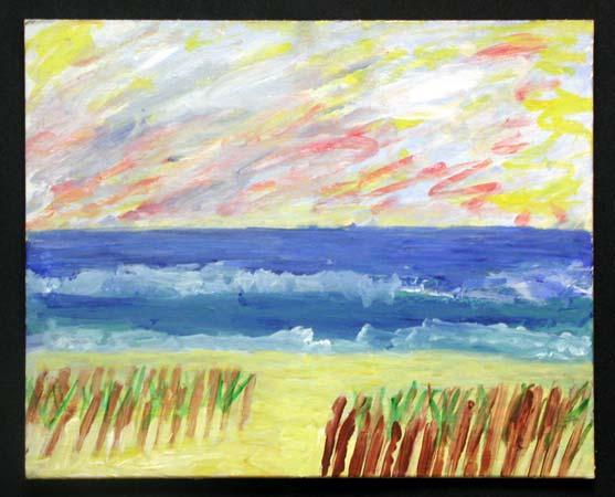 The Beach Acrylic on Canvas Board, 10 x 8 in.